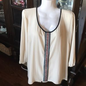 Maurices large cream and black blouse